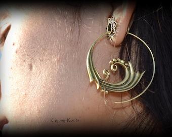 gorgeous big tribal spiral earrings