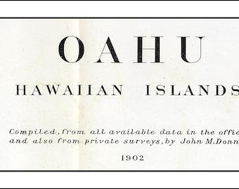 HAWAII Map, Hawaian Map, Oahu, Oahu Map, Hawaii,  Vintage Map, Antique Map, World Map,