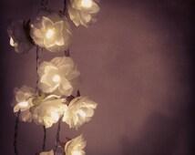 White Rose Garland Fairy Lights, White Rose Flower String Lights, Wedding Decor