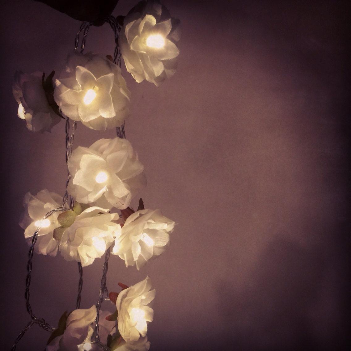 White Rose Garland Fairy Lights White Rose Flower String