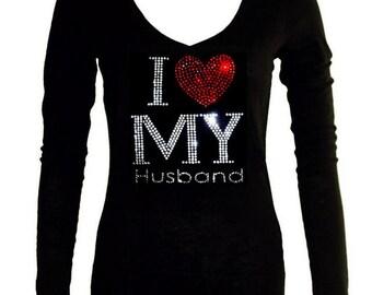 New Junior Rhinestone 'I Love My Husband V-Neck long sleeve T-Shirt all size S-3XL Bling Bling