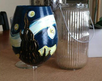 Starry Night Painted Wine Glass