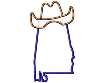 State of Alabama with cowboy hat applique design download 4x4 and 5x7 sizes