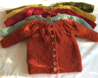 Baby Girl Leaf Pattern Cardigan