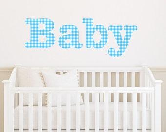 Baby Wall Sticker Boy's Patterned Gingham Transfer Decal Art Vinyl Bedroom Nursery Playroom
