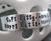 F*ck Cancer & Soft Kitty - Hand Stamped Cuff Bracelet - Cancer Jewelry - Stamping Cancer Out