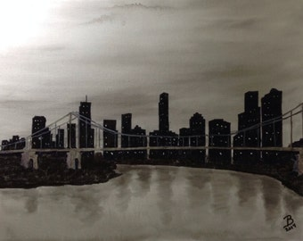 """18x24"""" Abstract Black and White Painting of City"""