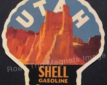 Shell Gasoline 1920s Travel Decal Magnet for UTAH. Accurately Reproduced & hand cut in shape as designed. Nice Travel Decal Art