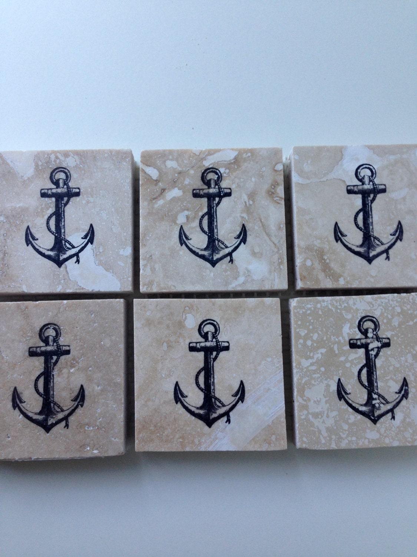 Nautical tile backsplash anchor tiles 2x2 by upyonderdesigns for Nautical kitchen backsplash