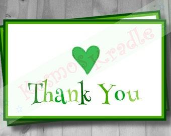 Thank You Card / Green Thank You Card / Heart Thank You Card- Digital File (Customizable/Printable)