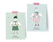 Kerstkaarten Set 10 stuks  - Ontwerp Engel met warm hart - kerstwens - persoonlijke kaarten - Jose Boekema