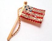 Vintage Rhinestone American Flag Pin
