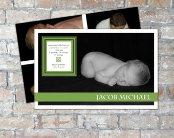 Modern Birth Announcement {Boy or Girl} {Digital Item}