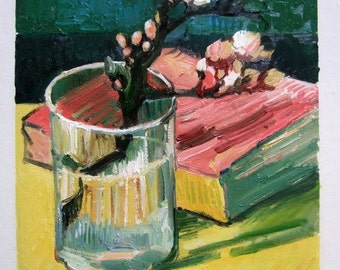Van Gogh, Blossoming Almond Branch in a Glass with a Book, Oil Painting Reproduction on Linen Canvas, Handmade Quality