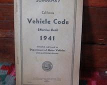 Antique 1941 California Drivers Manual Horseless Carriage DMV Retro Rules Antique Vehicle Code