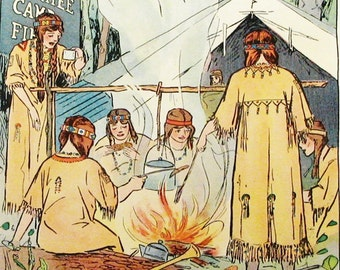 Vintage Campfire Girls 2 Children's Vintage Print 1916 12x9 Play Room Ready to Matte Frame Kids or Girls Room Wall Art