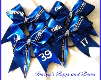 Lacrosse Bow~Blue white and black with name and or number