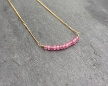 Pink Sapphire Bead Bar Necklace in 14K Gold-Fill, Sterling Silver, or 14K Rose Gold-Fill - 16 or 18 inches