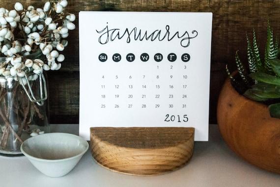 2015 Desk Calendar | Typographic Rustic Design