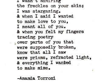 Stargazing.   Typewriter poem by Amanda Torroni