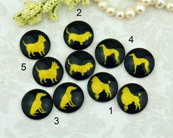 12mm,16mm,20mm cabs Mix Black Gold Dog Animal silhouette kids Handmade photo glass cabochon  12B092