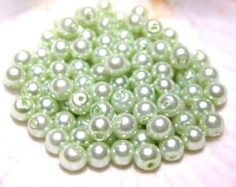 1 strand Tea Green Glass Pearl Beads 4mm Round