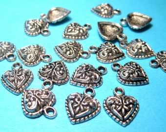 Antique Silver Heart Charms pendants 14mm