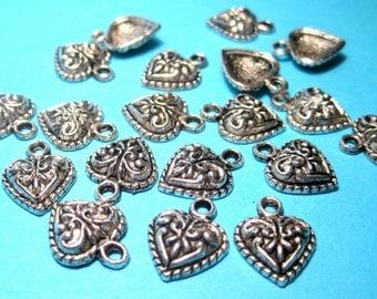 Antique Silver Heart Charms pendants 14mm