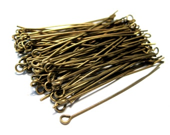 Antique Bronze Eye pins 2inches 21ga (No.592)
