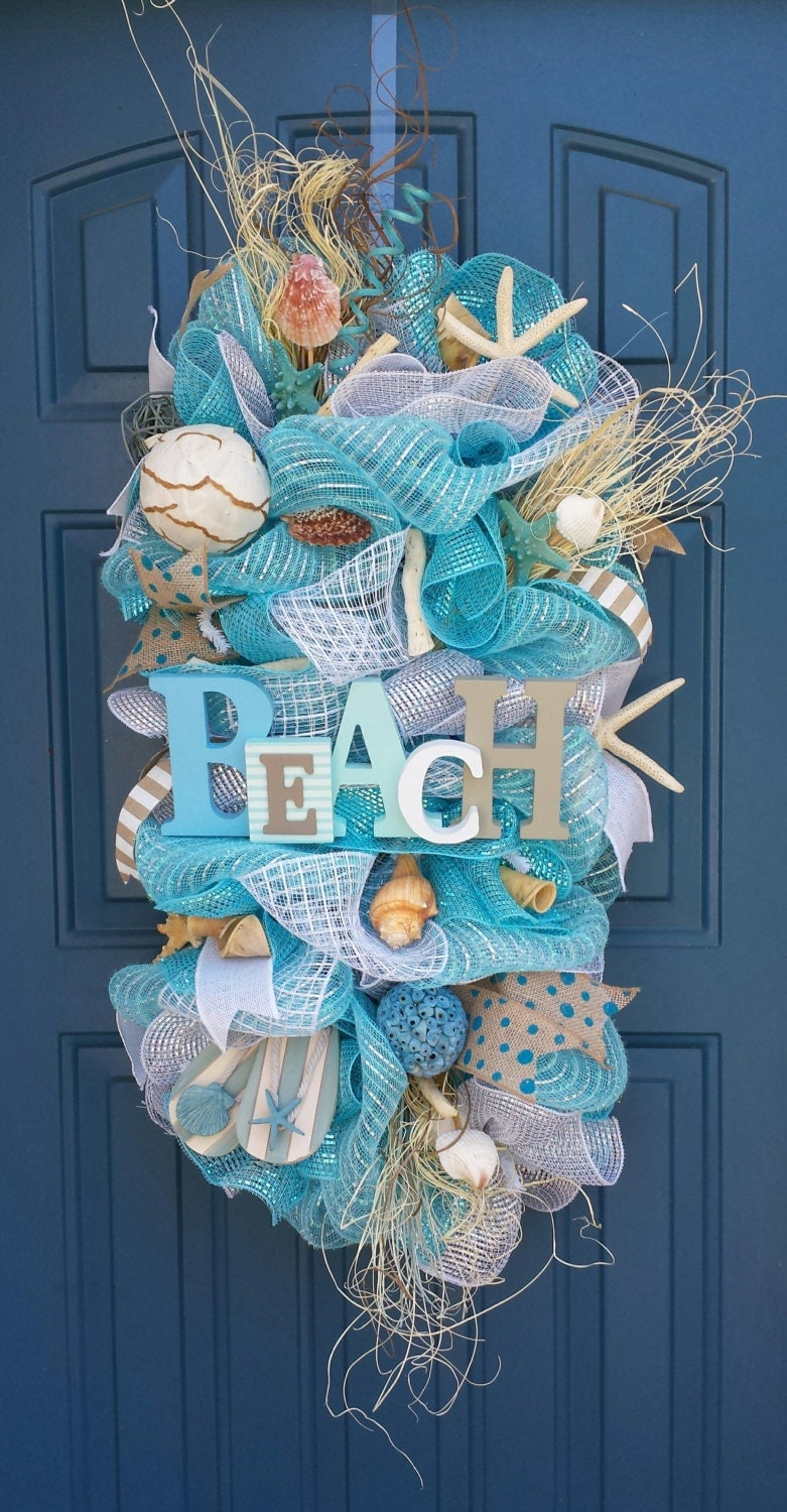 Beach summer deco mesh wreath beach swag deco mesh swag for Deco decorations