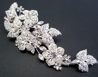 Bridal hair clip, Wedding headpiece, Rhinestone hair clip, Flower and leaf headpiece, Bridal headpiece, Wedding hair accessory, Vintage