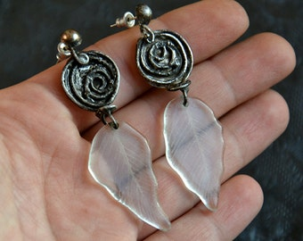 Unique, subtle earings with transparent, engraved LEAVES, statement earings.