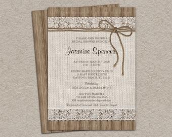 Rustic Bridal Shower Invitation, Burlap And Lace Bridal Shower Invitation, DIY Printable Rustic Wedding Shower Invitation With Burlap & Lace