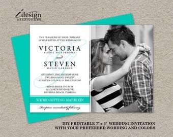 Photo Wedding Invitation, Printable Turquoise Wedding Invitations, Elegant Photo Wedding Invitations, DIY Photo Wedding Invites