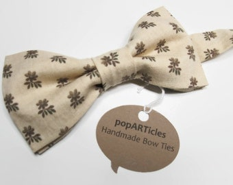 Tan Floral Bow Tie - Cream Calico Bow Tie - Handmade with 100% Cotton - Men's Pre-Tied Bow Tie in Ecru