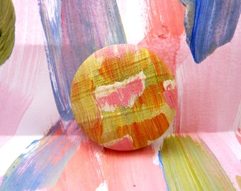 Fabric Button Badge/ Abstract Painting Badge/ Abstract Art Badge/ Hand Painted Brooch/ Pinback Brooch/ Pinback Button/ Fun Art