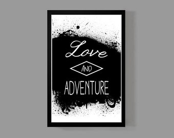 Love And Adventure - Travel Poster Print 11x17 Size - Wanderlust, Adventures, World, Travel