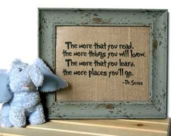 The Places You Will Go / Burlap Art Print / Burlap Print / Dr Suess / New Home Gift / Nursery Decor / Nursery Art / Dr Suess Art