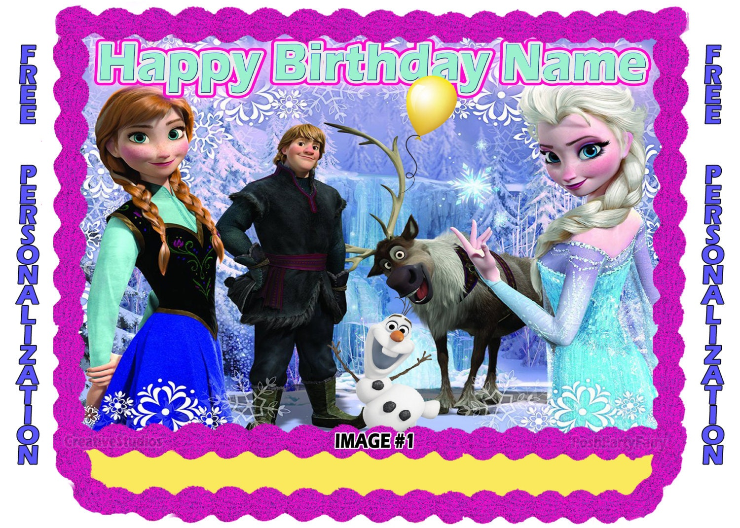 Personalized disney frozen edible image cake by poshpartyfairy