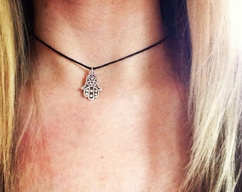 Hamsa hand, Hand of Fatima, Hand of God protection Choker Necklace