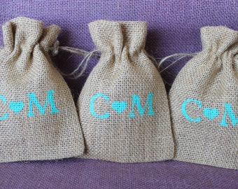 Rustic small burlap wedding favor bag. Burlap welcome bag. Personalized burlap wedding, shower, party favor.  Initials and heart design bags