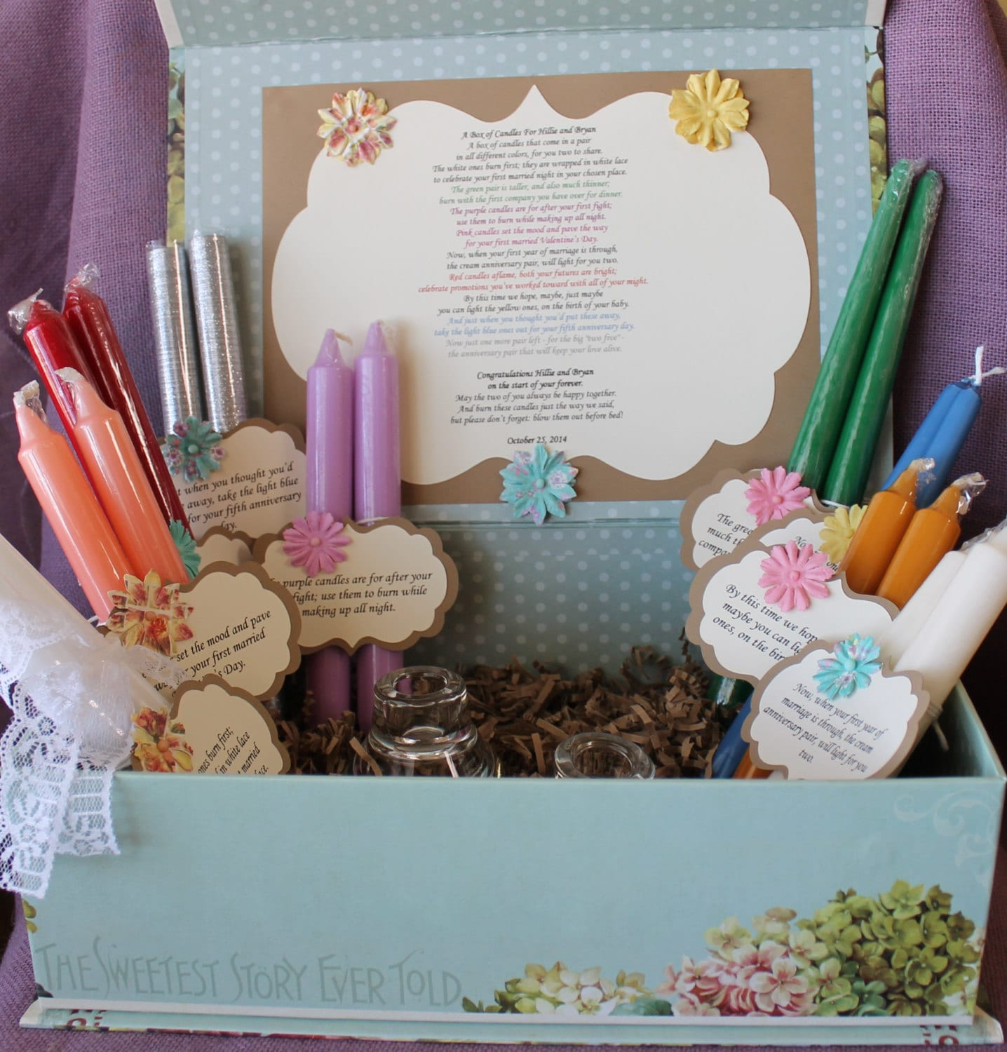 Wedding shower candle poem gift set bridal candle basket - Wedding bridal shower ...