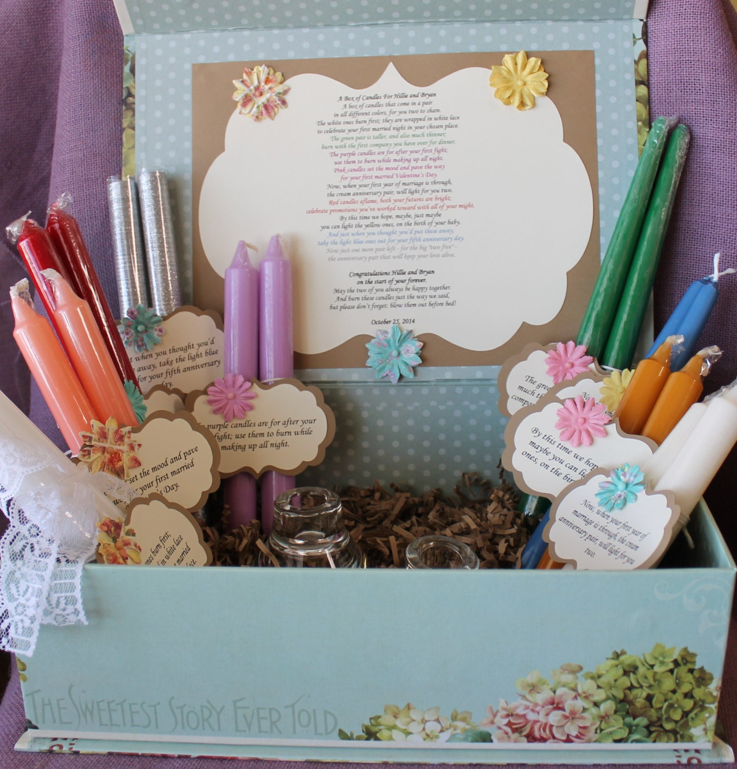 Wedding Candle Gift With Poem : Wedding Shower Candle Poem Gift Set. Bridal candle basket.