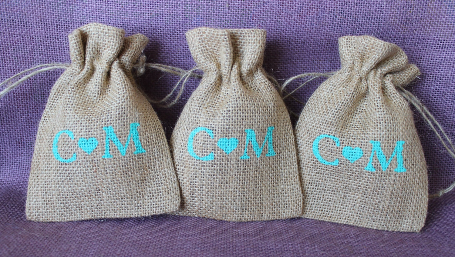 Rustic Small Burlap Wedding Favor Bag. Burlap Welcome Bag