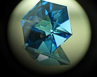 Blue Topaz | 9.10ct | Precision Cut | Mirror type luster stone gives very nice sparkle like a flower. This Hexagonal stone good for pendent