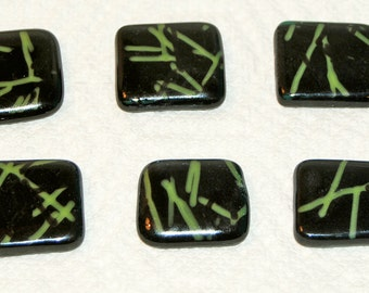 6 Black and Green Streamers Handmade Fused Glass Magnets