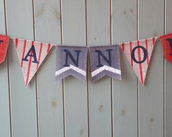 Personalised nautical bunting banner in red and blue for photo prop, birthday