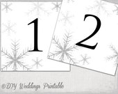 "Winter wedding table number  template -DIY Silver Gray ""Snowflakes"" number cards - digital wedding printable -YOU EDIT Word instant download"