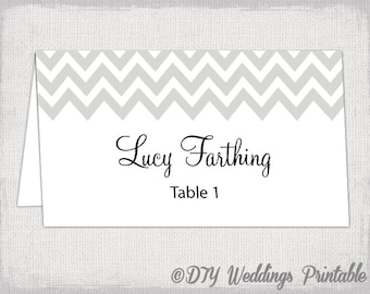 "Silver place card template ""Chevron"" name cards -DIY wedding printable silver gray place cards -YOU EDIT Word / Jpg Avery 5302 download"