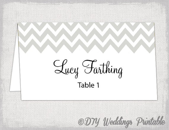 silver place card template chevron name cards diy